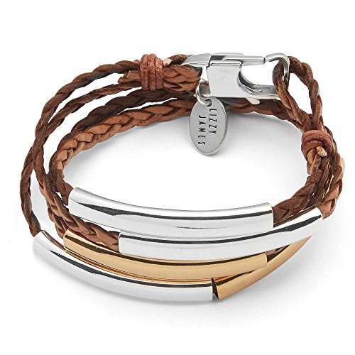 Lizzy James Mini Addison Braided Leather Wrap Bracelet in Gold and Silver in Natural Antique Brown -
