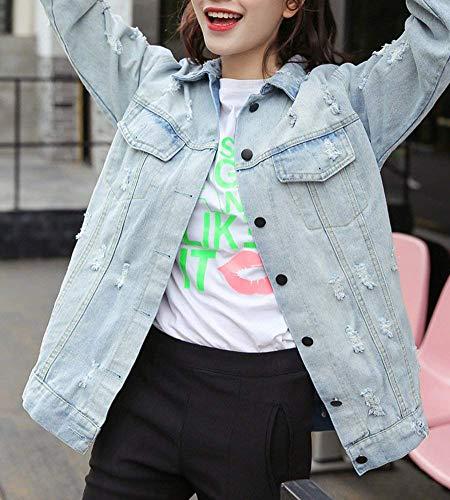 Puro Giacche Giacca Tasche Jeans Autunno Colore Accogliente Fashion Con Rosso Ragazza Primaverile Casuali Di Chic Giaccone Cappotto Lunga Manica Button Hipster Bavero Outerwear Strappato Donna Moda zOrwqz