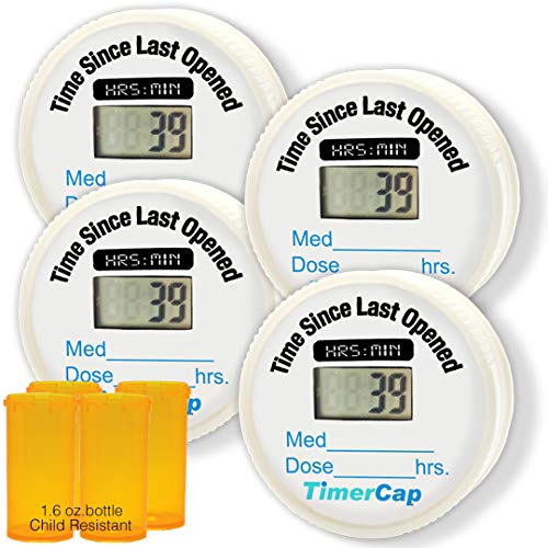TimerCap Pill Organizer Bottle Cap Automatically Records Built-in Stopwatch | Medicine Planner (4 Pack - 1.8 oz Amber Bottle) - CRC