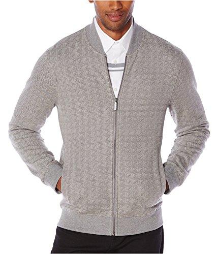Perry Ellis Mens Jacquard Long Sleeves Track Jacket Gray XXL