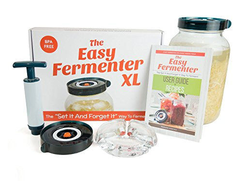 Easy Fermenter XL: Simplified Fermenting In 1 Gallon Jars! Make Sauerkraut, Kimchi, Pickles Or Any Fermented Probiotic Foods. 1 Lid, Weighting System, Extractor Pump & Printed Recipe - Is Kim What Chi
