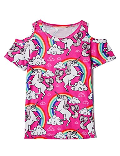 d79a7ceb9523 BFUSTYLE Little Girls Short Sleeve Cold Shoulder Top 3-12T