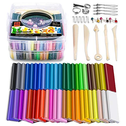 CiaraQ CPSC Conformed Non-Toxic Molding DIY Colorful Clay Assorted with Sculpting Tools for Kids Moderately Firm Artists. 1oz//Block Oven Bake Modeling Clay 50 Colors Polymer Clay Starter Kit