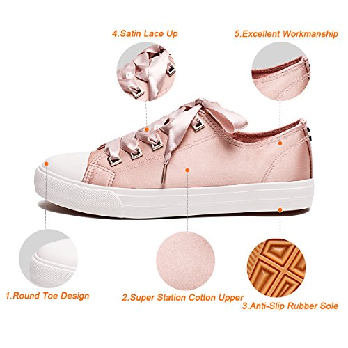 Pictures of ZGR Womens Fashion Canvas Sneaker Low Cut Pink 9 M US 6