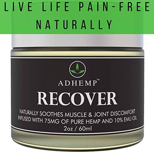 Pain Muscle Inflammation (ADHEMP Doctor Recommended Organic Hemp Pain Relief Therapy for Arthritis, Back, Knee, Hands, Neck, Feet, Muscle Soreness, Inflammation, Joints- Pure Hemp, 10% Emu Oil, Arnica- 2oz)