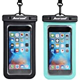 Hiearcool Universal Waterproof Case,Waterproof Phone Pouch for iPhone Xs XR Samsung Galaxy IPX8 Cellphone Dry Bag 2Pack up to 7 inches (Black Green)