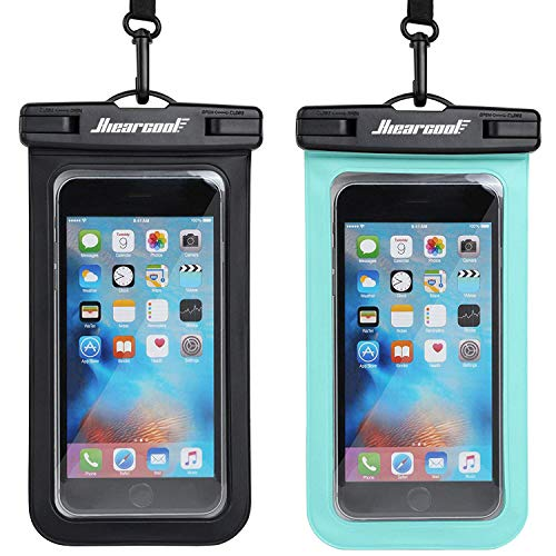 Hiearcool Universal Waterproof Case,Waterproof Phone Pouch for iPhone Xs XR Samsung Galaxy IPX8 Cellphone Dry Bag 2Pack up to 7 inches (Black Green) (Smart Sharp Phone)