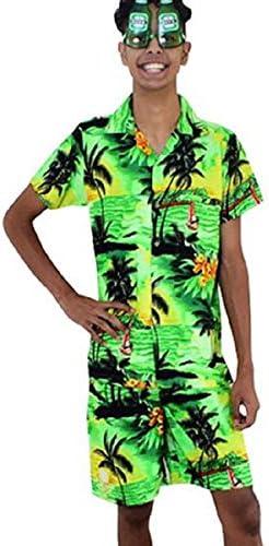 Green Magnum Mens Hawaiian Shirt /& Shorts Set