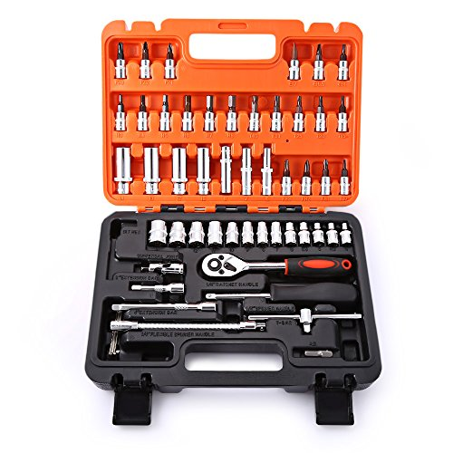 53pcs Auto Car Repair Tool Box Set Ratchet Wrench Sleeve Universal Joint Hardware Kit by Pavlit