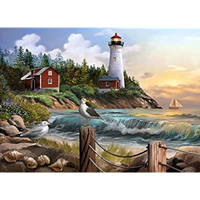 The Jigsaw Puzzle Factory Coastal Lighthouses, Seaside Beach by The Ocean Puzzle Games for Adults, Ages 12 and Up, 1000 Piece, 100% Biodegradable: Toys & Games