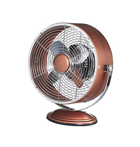 Deco Breeze Retro Collection Copper Metallic Swivel Table Fan, (Inspired Antique Nightstand)