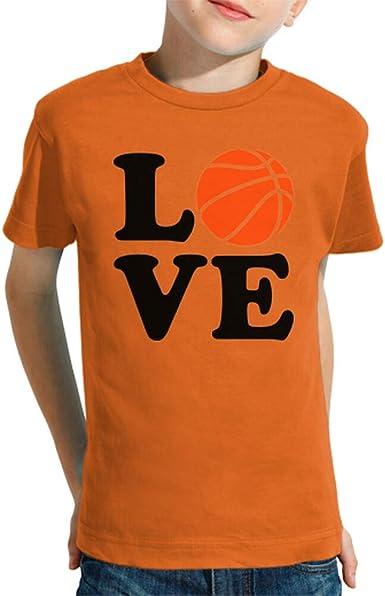 latostadora - Camiseta Amor de Baloncesto para Nino y Nina Naranja M: Amazon.es: Ropa y accesorios