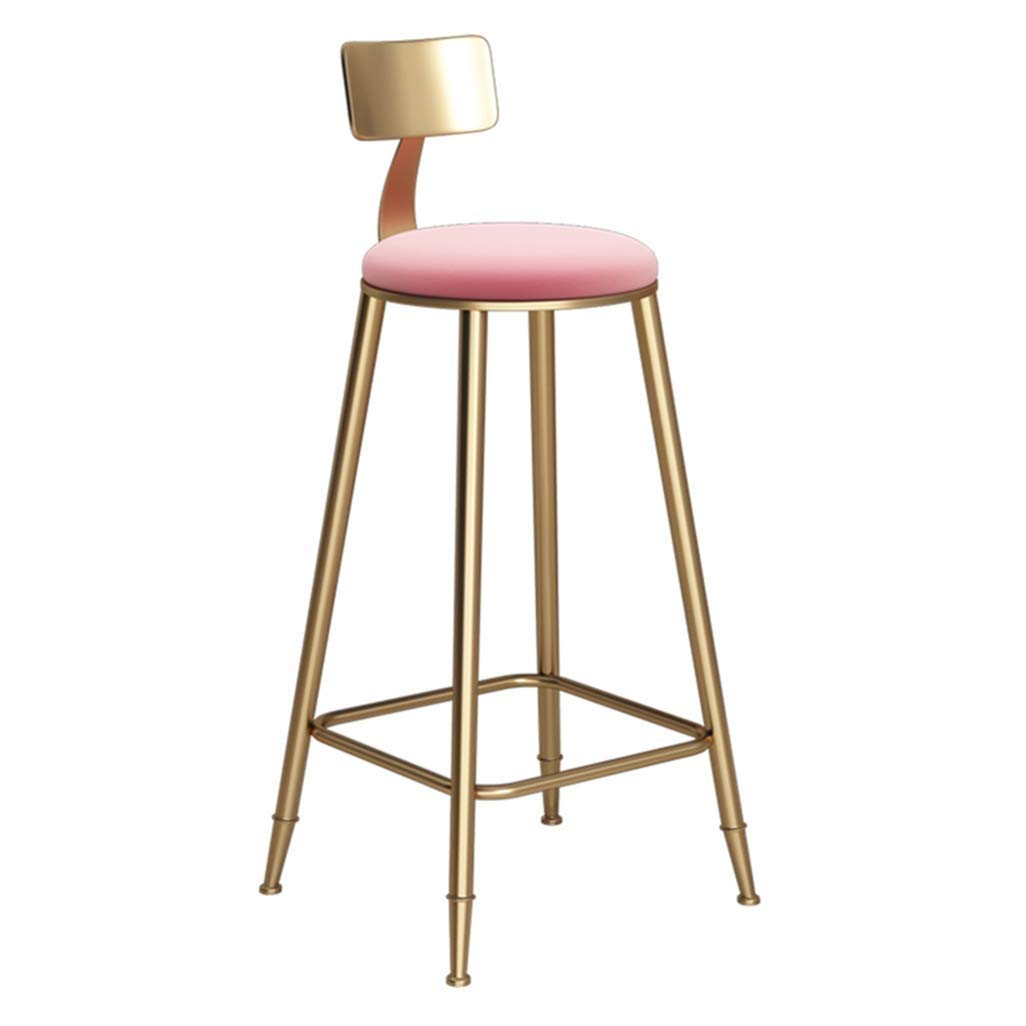 434378cm Nordic Bar Chair High Stool Princess Wind for Family Coffee Shop Kitchen Multi-Size Optional Pink (Size   43  43  68cm)