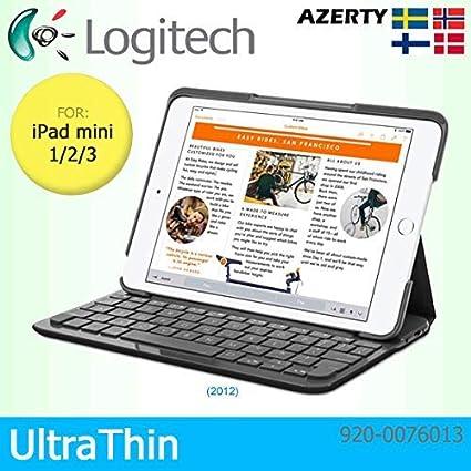 Logitech QWERTY - Funda Tipo Libro con Teclado Bluetooth Integrado para Apple iPad Mini 1/2/3, diseño de Teclado nórdico, Color Negro