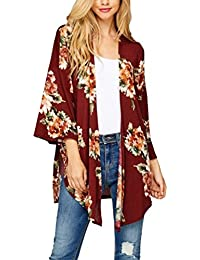 Women's Boho Floral Kimono Cardigan Capes Loose Cover up Blouse S-XL