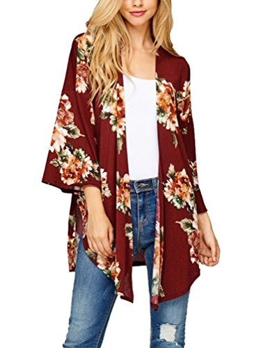Sipaya Women's Fall Cover Up Coat Blouse Loose Floral Kimono Cardigan Capes Burgundy S