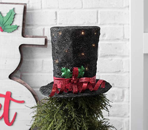 Amazon Com Hm Unique Christmas Tree Topper Lighted Top Hat Black Or