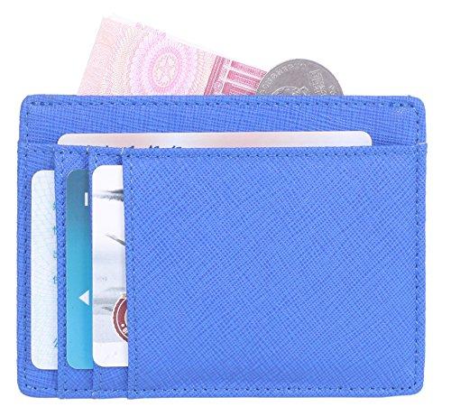 HONEYJOY Leather Slim Wallet Credit Card Case Minimalist Money Clip Wallet Card Holders with RFID Blocking (Blue) - Poker Chip Money Clip