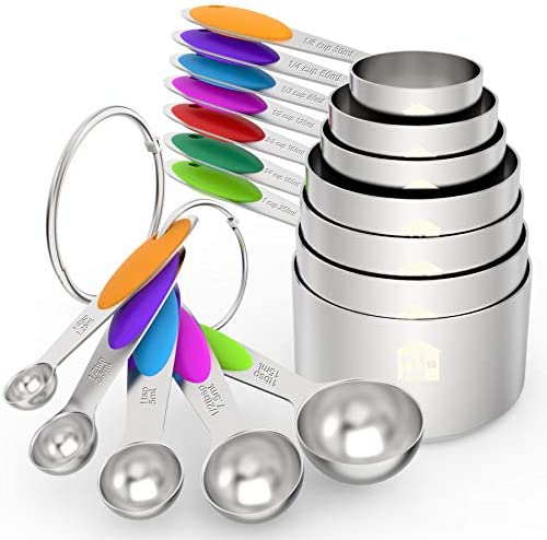 Wildone Measuring Cups and Spoons Set of 12, Premium Stainless Steel Measuring Cups & Measuring Spoons, including 7 Stackable Cups & 5 Spoons, for Dry and Liquid Ingredients 1