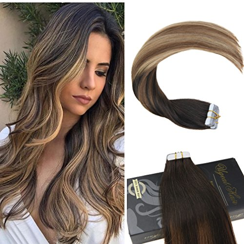 Ugeat 14 Inch Tape in Natural Hair Extensions #2 Darkest Brown Fading to #6 Medium Brown and #12 Light Golden Brown Remy Straight Tape on Extensions Seamless Glue in Human Hair 50g/pack 20pcs