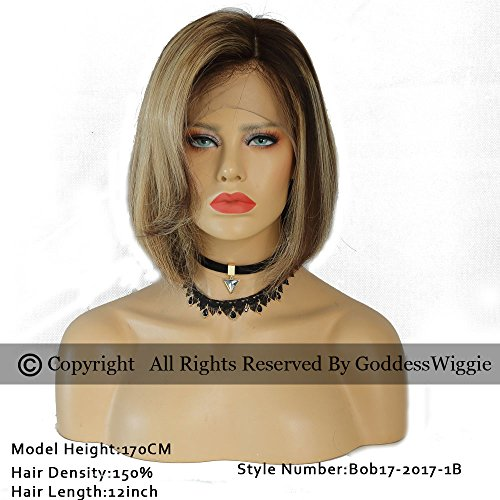 Balayage Human Hair Bob Wig Lace Front Bob Cut Wig With Baby Hair For Woman (14inch 180%) by Goddess