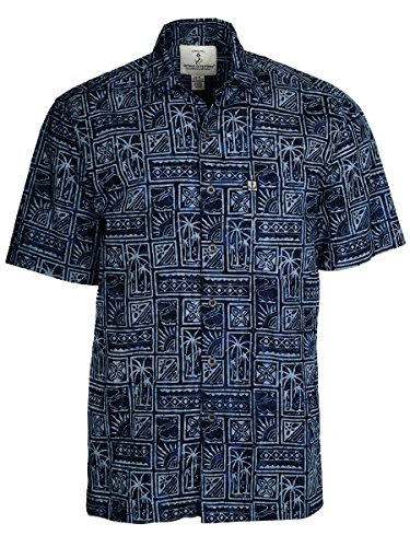 Artisan Outfitters Mens Outer Banks Batik Cotton Hawaiian Shirt (4XB, Midnite Blue) A0214-02-4XB