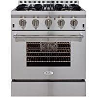 AGA APRO30DFSS  30 Professional Dual Fuel Range with RapidBake Convection, Stainless Steel