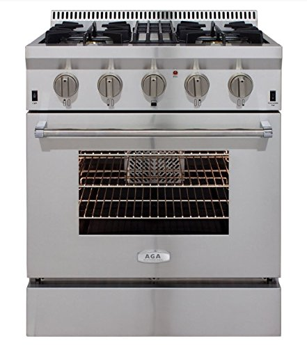 AGA APRO30DFSS 30″ Professional Dual Fuel Range with RapidBake Convection, Stainless Steel