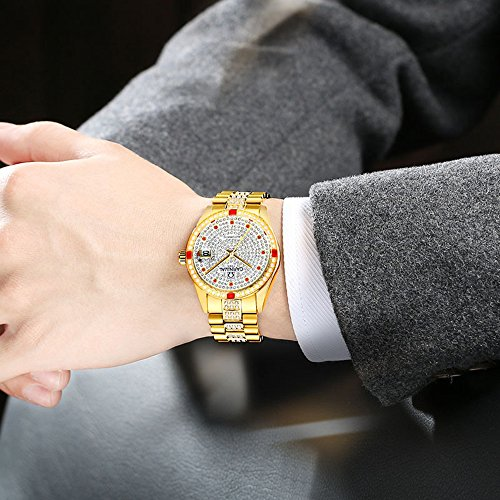 Luxury Men Automatic Mechanical Business Calendar Stainless Steel Military Rhinestone Waterproof Watch (Gold) by Fanmis (Image #3)