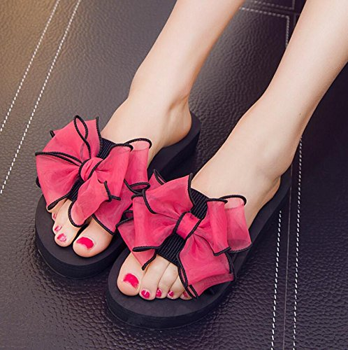 Slotted Bow And Cool 39 With The Thick KHSKX Female Slippers Version Students In Pink Non 3Cm Tie Korean Of Drag Flat Female Slip Summer Fashion RqTHwRB