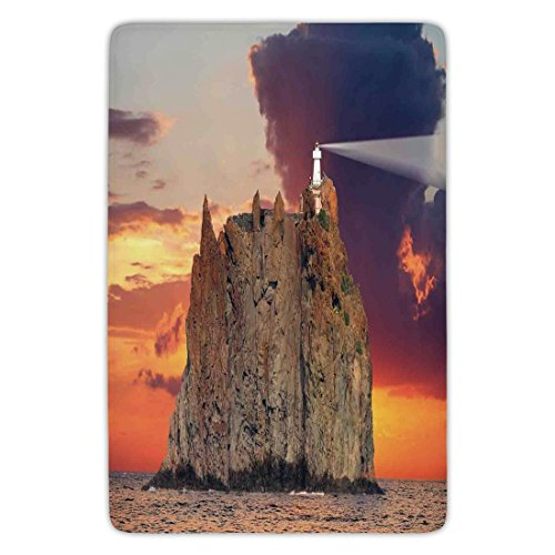 Bathroom Bath Rug Kitchen Floor Mat Carpet,Lighthouse Decor,Stromboli Lighthouse Italy Mediterranean Colorful Cloudy Sky Natural Cloudscape,Flannel Microfiber Non-slip Soft Absorbent Natural Accent Outdoor Lighthouse