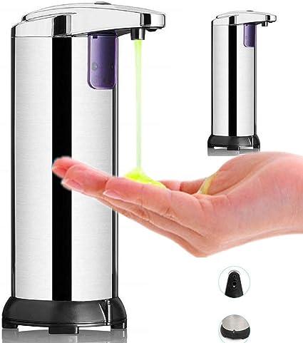 Black Dispenser di sapone automatico Dispenser di sapone a mani libere senza contatto Dispenser di sapone elettrico a infrarossi IR Dispenser di sapone in acciaio inossidabile per 280 ML 9.5 OZ