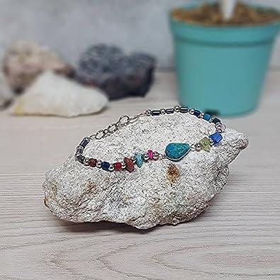 Mia Jewel Shop Teardrop Stone Multicolored Beaded Chip Stone Hematite Bracelet