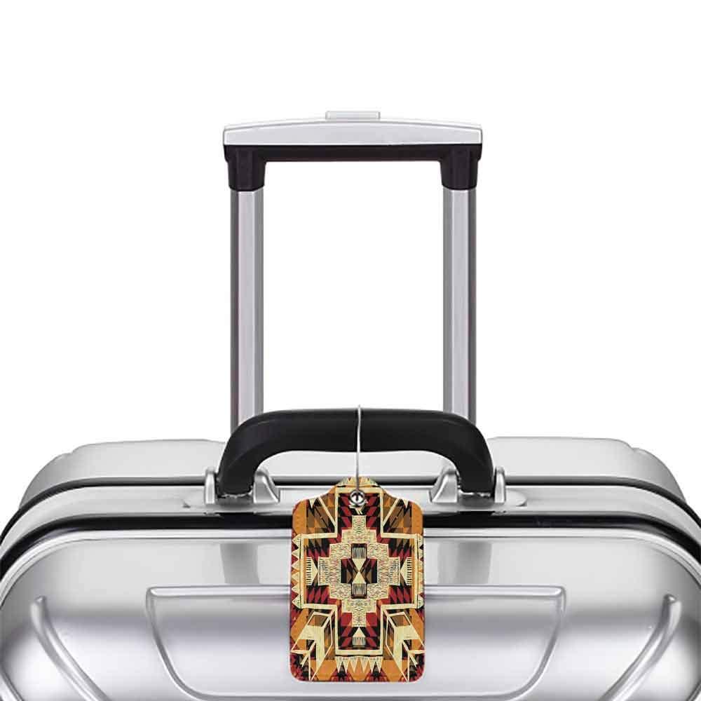 Durable luggage tag Arrow Decor Native American Inspired Retro Aztec Pattern Mod Graphic Design Boho Chic Art Print Unisex Cream Merigold W2.7 x L4.6