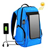 PROVOD 15.6-18 Inch Outdoor Multi-function Backpack Waterproof laptop Bag Men And Women With USB Charging And Headphone Port Solar Travel Bag (Blue(Solar energy))