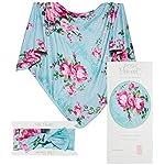 Posh-Peanut-Baby-Swaddle-Blanket-Large-Premium-Knit-Baby-Swaddling-Receiving-Blanket-and-Headband-Set-Baby-Shower-Newborn-Gift-Aqua-Floral