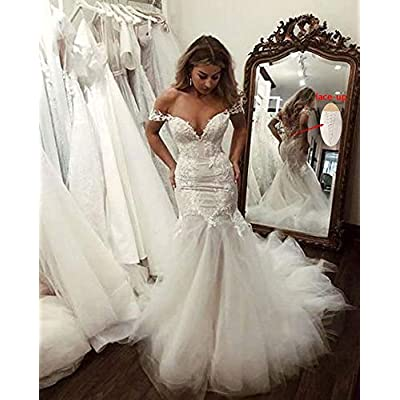 QueenBridal Cathedral Train Mermaid Wedding Dress Beaded Applique Off Shoulder Bride Dresses QU89 at Women's Clothing store