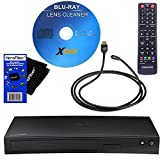 Samsung BD-J5900 Curved 3D Blu-Ray Player with Wi-Fi + Remote Control + Xtech Blu-Ray Disc Laser Lens Maintenance Kit + Xtech High-Speed HDMI Cable w/Ethernet + HeroFiber Ultra Gentle Cleaning Cloth