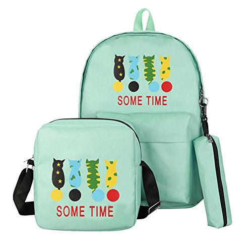 Jocestyle 3pcs/Set Women Backpack Girl Cat Print Canvas Composite Crossbody (Print Canvas Cross Body)