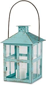 Kate Aspen Vintage Blue Distressed Large Rustic Lantern Candle Holder