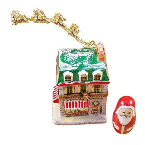 HOUSE WITH SANTA AND BRASS REINDEER - LIMOGES BOX AUTHENTIC PORCELAIN FIGURINE FROM - Reindeer Figurines Brass