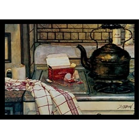 Diseño desayuno té por L. de Deborah Chabrian 20 x 14,5 Art Print Póster Vintage todavía vida cocina estufa superior té en la mañana: Amazon.es: Hogar