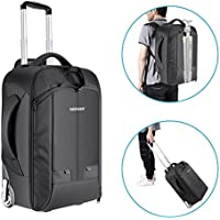 Neewer 2-in-1 Convertible Wheeled Camera Backpack Luggage...