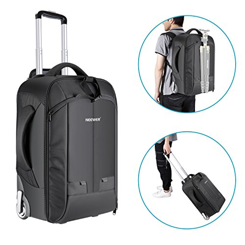 Neewer 2-in-1 Convertible Wheeled Camera Backpack Luggage Trolley Case with Double Bar, Anti-shock Detachable Padded Compartment for SLR/DSLR Cameras, Tripod, Lens and Other Accessories -