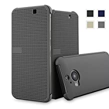 HTC One M9+ dot view case,HTC M9 PLUS Dot View cover(HTC Hima Ultra,HTC Hima Ace Plus,M9pt,) Dot View Cover Flip Protective Case AaBbDdHolster (Grey)