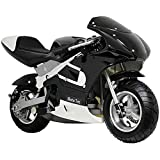 MotoTec Gas Pocket Bike Motorcycle -Black