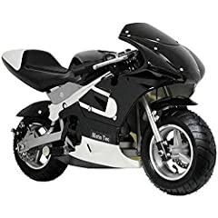 The MotoTec Gas Pocket Bike is a fun mini ride for kids and even adults who are big fans of small machines. This unit has a 33cc two-stroke motor that is EPA approved and air-cooled. To start the engine, just pull the lever. It requires gas t...