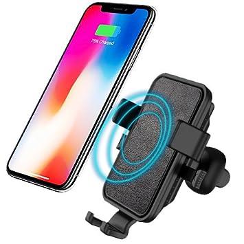 Cargador Inalámbrico Coche, Bovon Soporte Movil Aplicable a Rejillas del Aire, Carga Estándar para iPhone X / 8/8 Plus y Dispositivos Qi, Carga Rápida ...