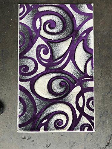 Modern Area Rug Door Mat Purple Swirl Design #341 Contempo (2ftX3ft.4in.)