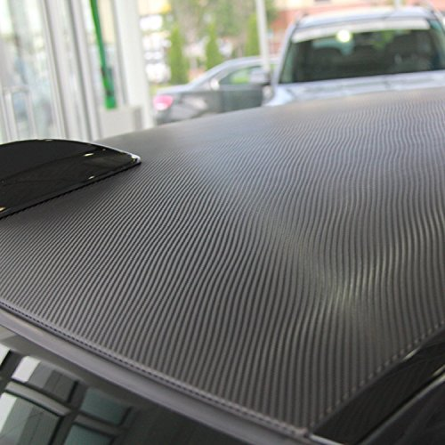 """LZLRUN 3D Carbon Fiber Vinyl Wrap - Outdoor Rated for Automotive Use - 12"""" x 60""""(Free Gift knife + Hand Tool) (Black)"""
